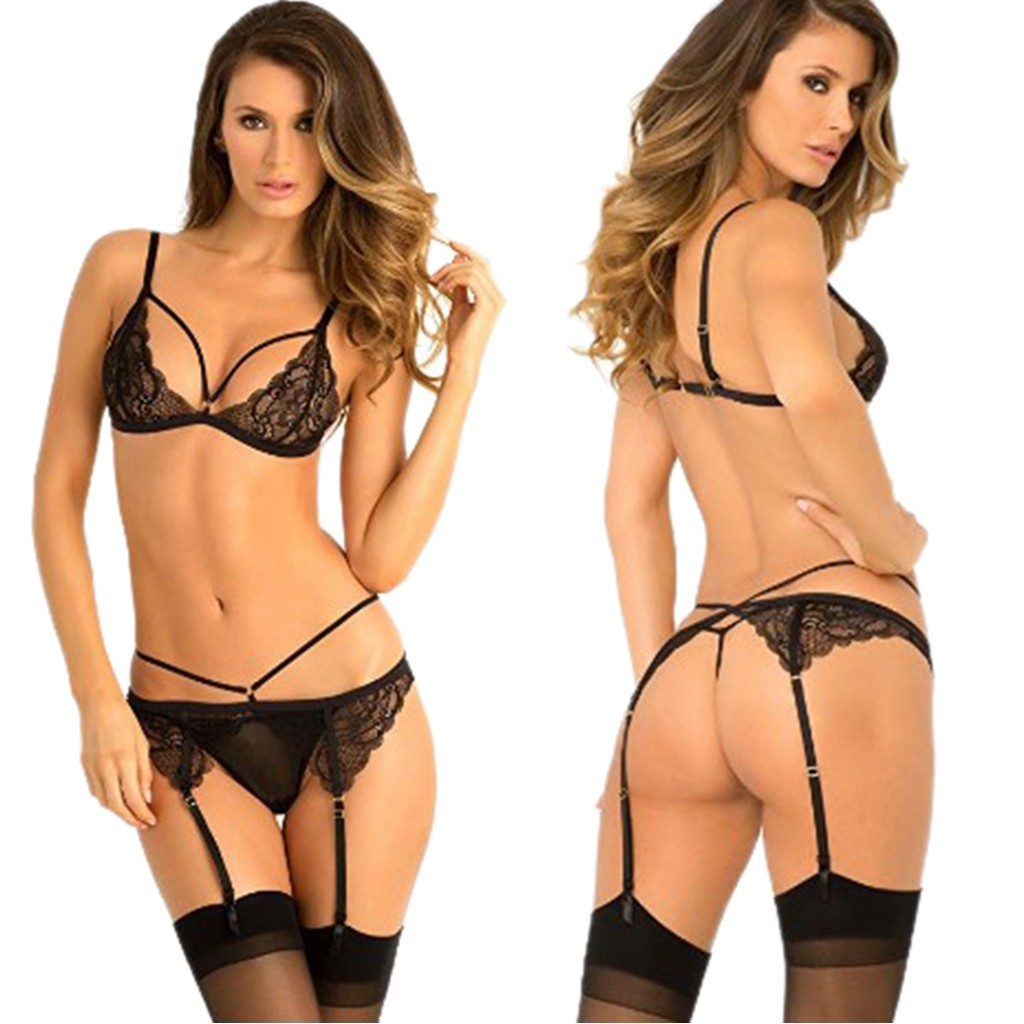 Translucent Bandage 3PC Women Lace Sexy Lingerie Bandage Nightwear Babydoll Underwear Thong Lady Push Up Bra Panty Garters Sets